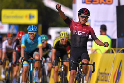 Roglic wins Vuelta stage eight and cuts gap behind Carapaz.