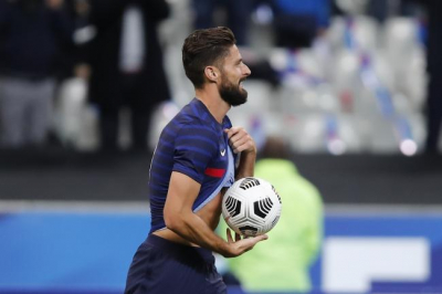 Giroud passes Michel Platini's goalscoring tally in thumping France win.