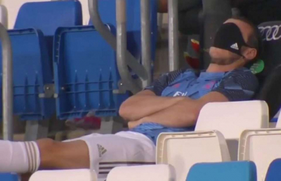 Gareth Bale appears to sleep whilst on the bench for Real Madrid vs Alaves.